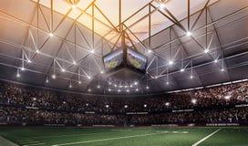 Leeres Stadion des amerikanischen Fußballs 3D in den Lichtern übertragen Stockfotografie