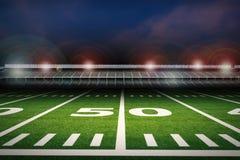 Leeres Stadion des amerikanischen Fußballs nachts lizenzfreie abbildung