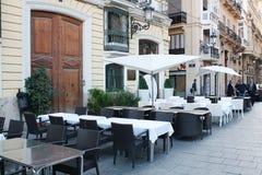 Leeres Straßen-Restaurant, Valencia Stockfotografie