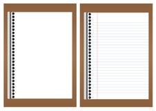 Leeres Weißbuch auf braunem Brett Stockbilder
