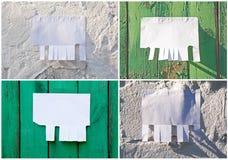 Leeres Weißbuch mit reißen Vorsprünge auseinander stockfotos