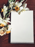 Leeres weißes Albumblatt mit hellen Blumen Stockbilder