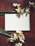 Leeres weißes Albumblatt mit hellen Blumen Stockbild