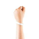 Leeres weißes Gummimanschettenmodell an Hand, lizenzfreie stockfotografie
