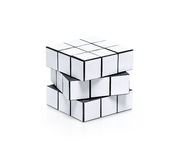 Leeres weißes rubiks Würfelpuzzlespiel Lizenzfreies Stockfoto