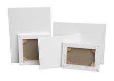 Leeres weißes Malersegeltuch lokalisiert auf Weiß lizenzfreie stockfotografie