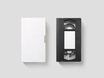 Leeres weißes Videokassettenmodell, Draufsicht, Beschneidungspfad Stockfotografie