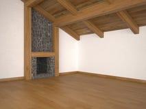 Leeres Wohnzimmer mit Kamin- und Dachlichtstrahlen Stockbild