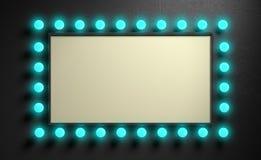 Leeres Zeichen der Weinlese mit Blaulichtbirnen auf schwarzem Wandhintergrund Abbildung 3D Lizenzfreies Stockbild
