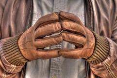 Leerhandschoenen Stock Foto