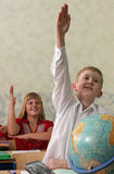 Leerlingen bij klaslokaal royalty-vrije stock afbeelding
