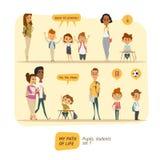 Leerlingen en studenten vectorreeks Stock Fotografie