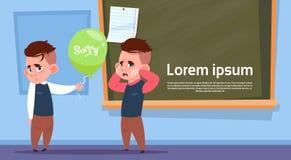 Leerlingen in Klassenzaal, Twee Schooljongens Vragen Droevig over Schoolbord stock illustratie