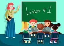 Leerlingen Luisterleraar in Klaslokaal op Les stock illustratie