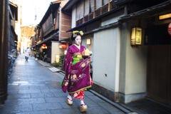 Leerlingsgeisha in westelijk Japan, vooral Kyoto Hun banen royalty-vrije stock foto's