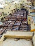 Leerlooierijen in Fes Marokko stock foto
