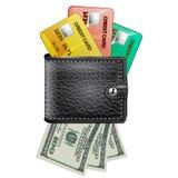 Leerportefeuille met creditcards en dollars de V.S. Stock Afbeeldingen