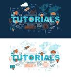 Leerprogramma'sWeb-pagina bannerconcept met dun lijn vlak ontwerp stock illustratie