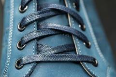 Leerschoenen, nadruk op details Stock Afbeelding
