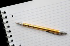 Leerseite ein Stift Stockbild