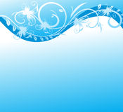 Leerzeichen mit Welle und Zweig mit Blumen. vektor abbildung