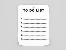 Leerzeichen, zum der Liste zu tun stock abbildung