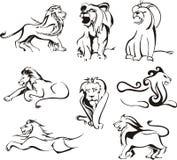 Leões estilizados Fotografia de Stock Royalty Free