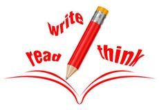 Lees, schrijf, denk Stock Illustratie