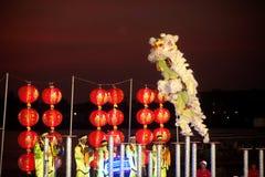 Leeuw die in Chinees Nieuwjaar dansen. Stock Fotografie