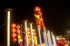 Leeuw die in Chinees Nieuwjaar dansen. Royalty-vrije Stock Foto's