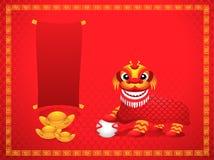 Leeuw die met Chinese nieuwe jaarachtergrond dansen Stock Foto's