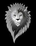 Leeuw die op zwarte wordt geïsoleerds Stock Afbeelding
