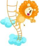 Leeuw die touwladder beklimt Royalty-vrije Stock Afbeelding