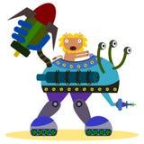 Leeuw in een slagrobot Stock Afbeeldingen