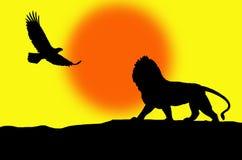 Leeuw en adelaarsillustratie Stock Foto