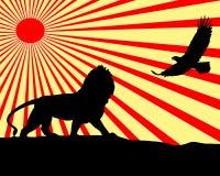 Leeuw en adelaarsillustratie Royalty-vrije Stock Fotografie