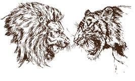 Leeuw en de Tijger die tegenover elkaar de grommen, openen een verbitterde mond, hoektanden, hand getrokken krabbel stock illustratie