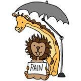 Leeuw en giraf onder paraplu Stock Foto's