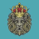 Leeuw en kroon stock illustratie