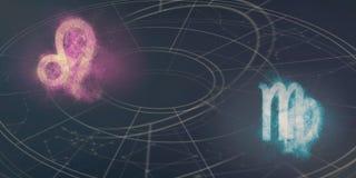 Leeuw en Maagd de verenigbaarheid van horoscooptekens De samenvatting van de nachthemel royalty-vrije illustratie
