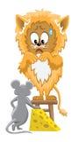 Leeuw en muis met kaas Stock Afbeelding