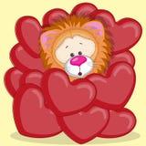 Leeuw in harten Stock Fotografie