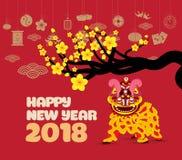Leeuw het dansen en Chinees nieuw jaar met bloesem vector illustratie