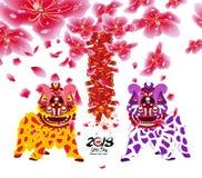 Leeuw het dansen en Chinees nieuw jaar met bloesem en voetzoeker royalty-vrije illustratie