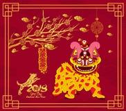 Leeuw het dansen en Chinees nieuw jaar met voetzoeker stock illustratie