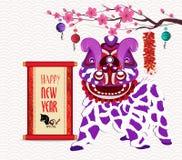 Leeuw het dansen hoofd en Chinees nieuw jaar met voetzoeker met rol stock illustratie
