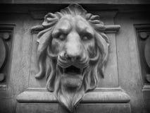 Leeuw hoofd bas-hulp stock afbeelding