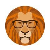Leeuw hoofdgezicht in de vlakke glazen vectorillustratie Royalty-vrije Stock Foto