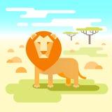 Leeuw - koning van de savanne Stock Illustratie