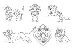 Leeuw, Lijnvector Royalty-vrije Stock Afbeeldingen
